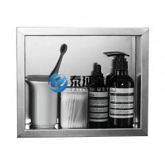 Washroom recessed soap holder
